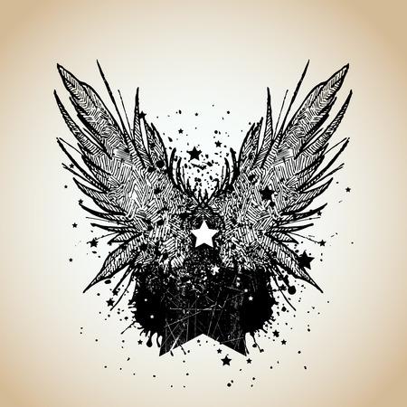 wings grunge: heraldic design element