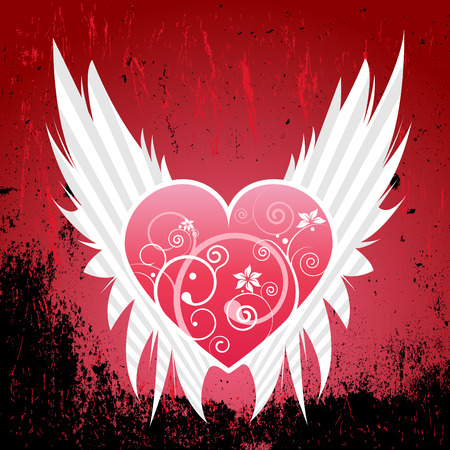 grunge wing with heart Stock Vector - 8566932