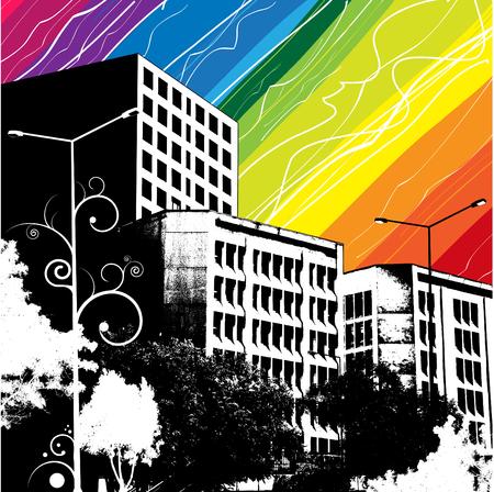 rainbow city Stock Vector - 8566931