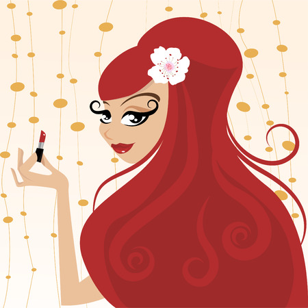 make up woman: red hair Illustration