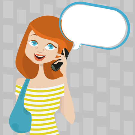woman talking on phone  Vector