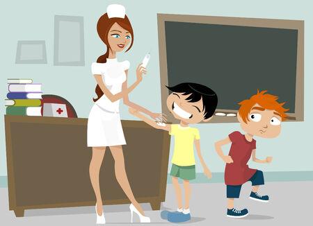 nurse with schoolboys  Vector