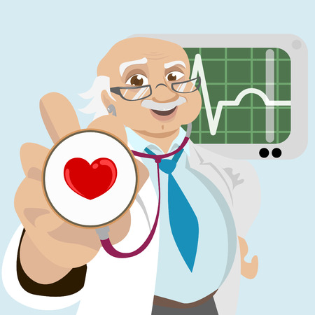 practitioner: doctor with health symbol  Illustration