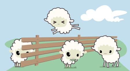domesticated: little sheeps  Illustration