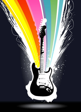 abstract colorful explosion guitar background  Illustration