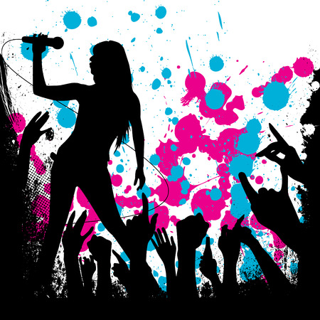 singer silhouette: grunge style party background  Illustration