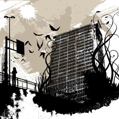 grunge leaf: urban city