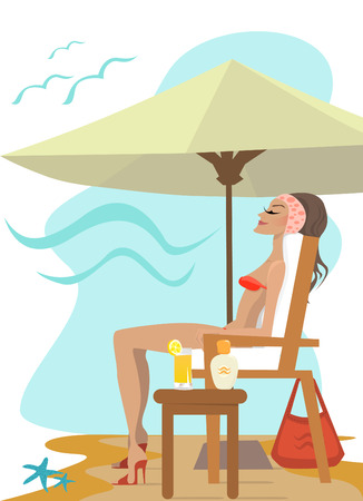 women in the beach  Vector