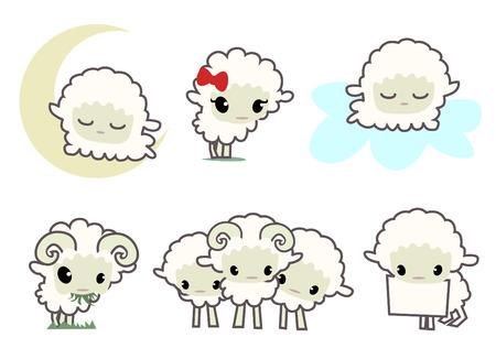 cute sheep: little sheeps  Illustration