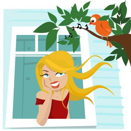 song bird: girl at window