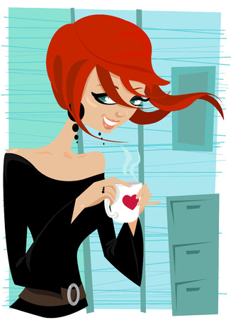 redhead woman: girl drinking coffee