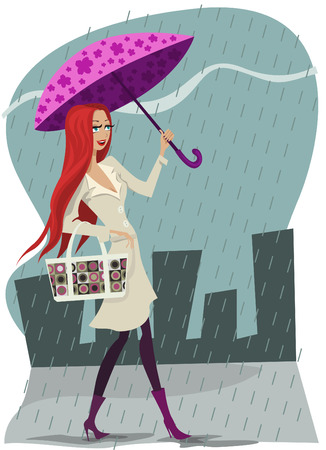 redhead woman: rain and girl