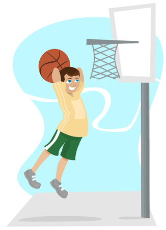kid playing basketball  Stock Vector - 8623134