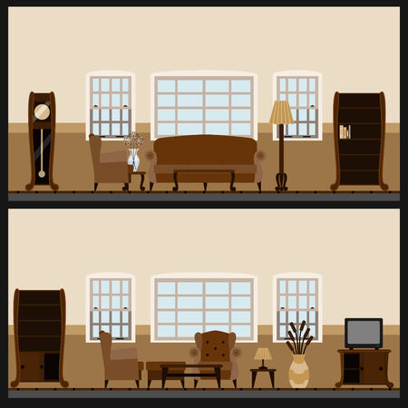 sofa set:  furniture icon set Illustration