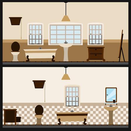 pavimento lucido: bagno interior design Vettoriali