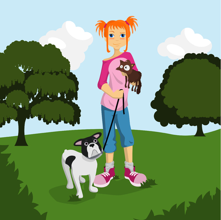 animal lover girl  Vector