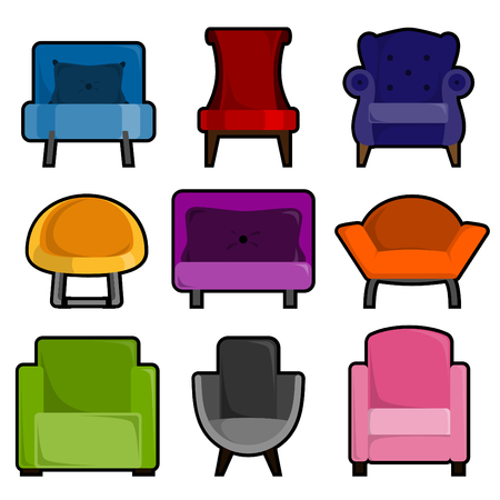 leather armchair: furniture icons  Illustration