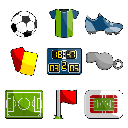 scoreboard: soccer object icon set