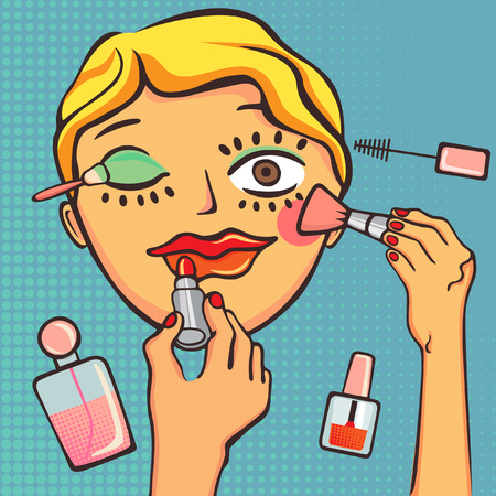 girl making up  Vector