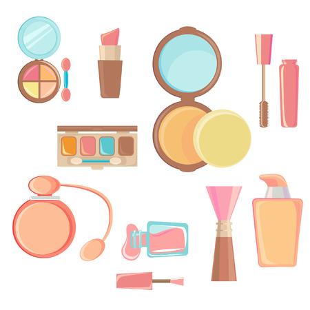 makeup brushes: cosmetic icon set