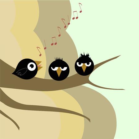 tiras comicas: canto de aves Vectores