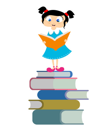 school test: cute girl reading book  Illustration
