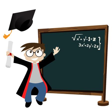 finishing school: graduate in classroom  Illustration