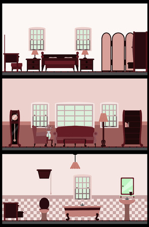 furnishing: Vintage woonkamer  Stock Illustratie