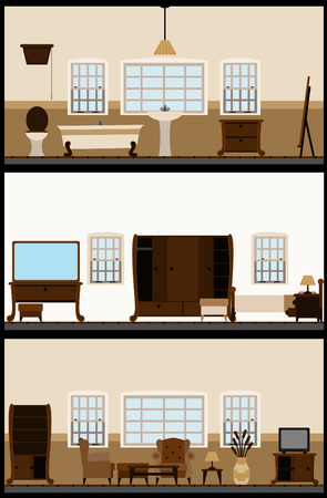 window curtains: vintage living room  Illustration