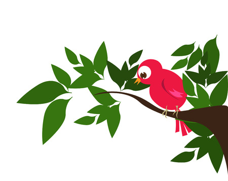 cartoon bird in nature  Vector