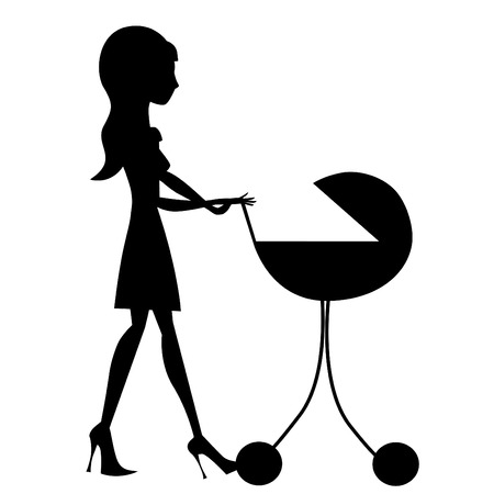 mom baby: mother with baby stroller  Illustration