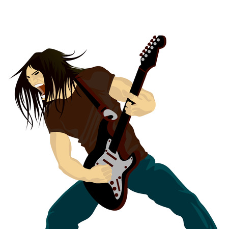 drawn metal: rock guitarist playing on electric guitar  Illustration