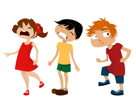 happy kids playing: cartoon kids  Illustration