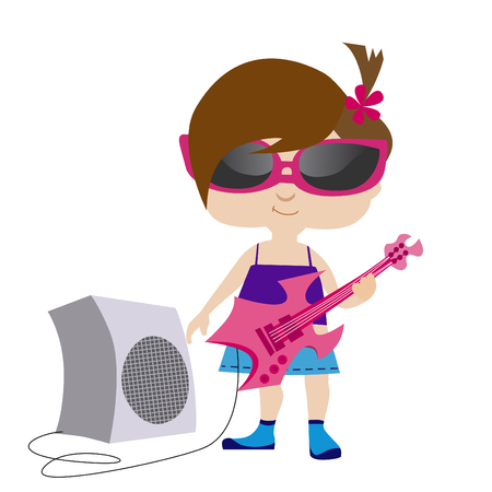 rocker girl: Rock girl  Vectores