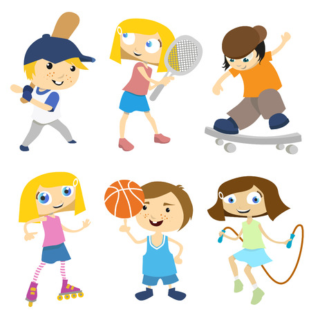 school activities: sport cartoon with  different position  Illustration