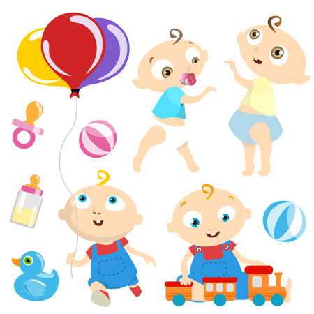 toddler playing: baby with toy  Illustration