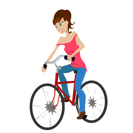 exercise machine: girl riding a bicycle