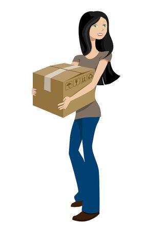 girl with cargo box  Stock Vector - 8817417