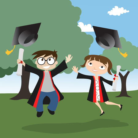 graduating: boy and girl graduate  Illustration