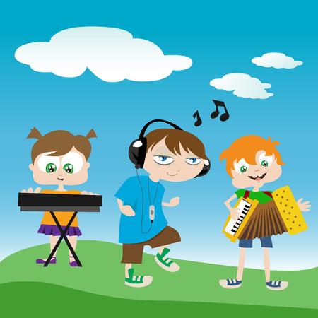niños tocando música  Vectores