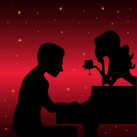 piano player with woman  Illustration