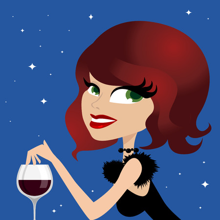 solitude: woman drinking wine Illustration