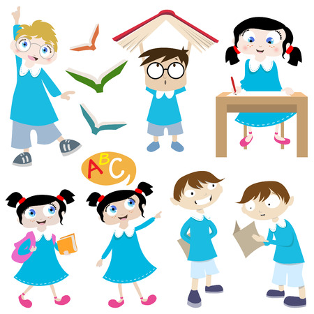 school girl uniform: cartone animato di studenti