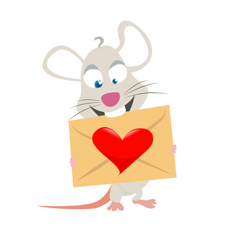 mouse with love symbol  Vector