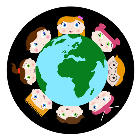 children and earth Stock Vector - 8817469