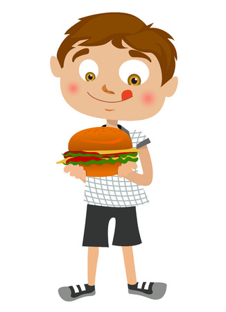 hungry kid: boy eating hamburger