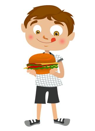 kid eat: ragazzo mangiare hamburger