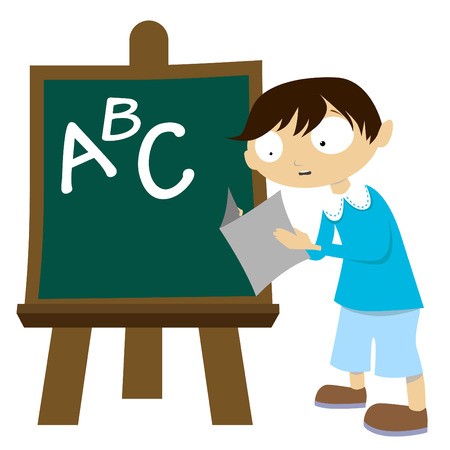 elementary age: student with chalkboard