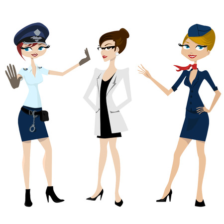 police, doctor, hostess  Illustration