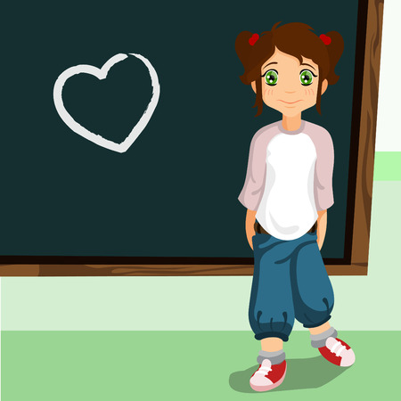 student on the chalkboard with heart symbol  Vector